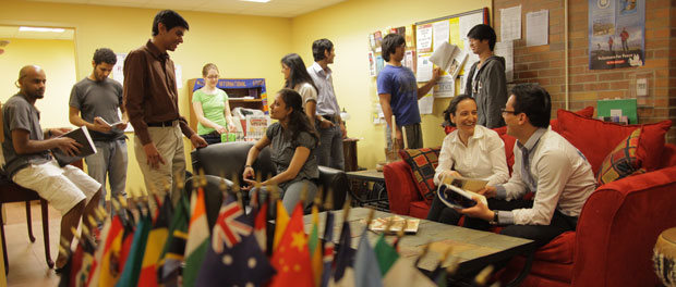 Global Admissions Students Talking Together