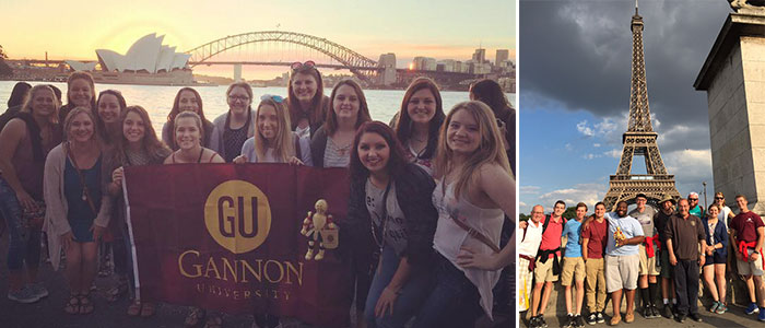 Gannon Students in front of the Eifel Tower and Sydney, Austrailia